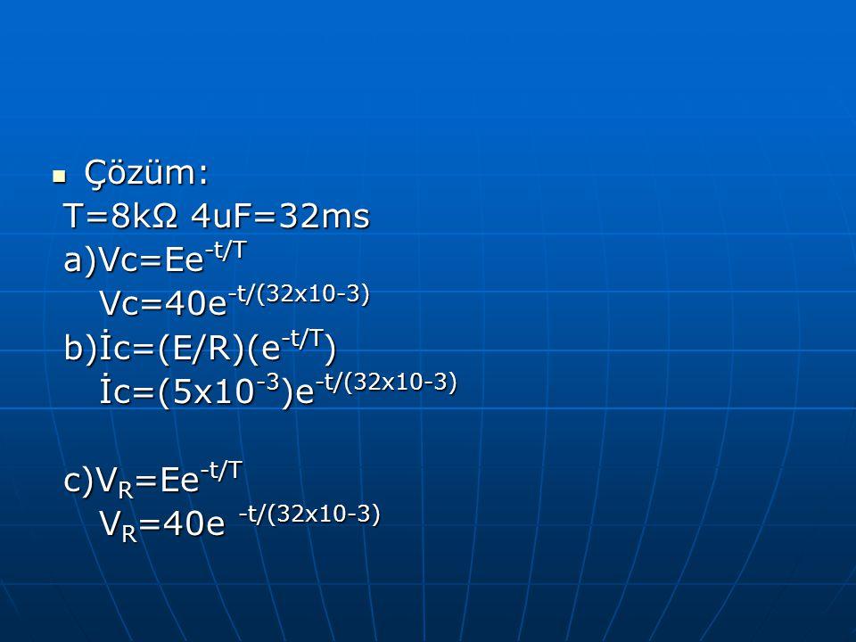 Çözüm: T=8kΩ 4uF=32ms. a)Vc=Ee-t/T. Vc=40e-t/(32x10-3) b)İc=(E/R)(e-t/T) İc=(5x10-3)e-t/(32x10-3)