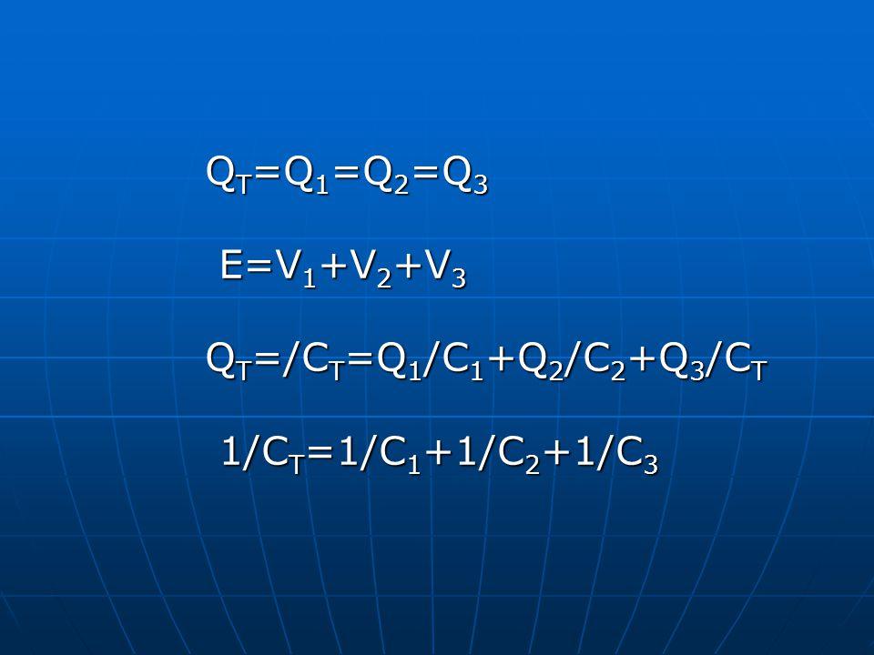 QT=Q1=Q2=Q3 E=V1+V2+V3 QT=/CT=Q1/C1+Q2/C2+Q3/CT 1/CT=1/C1+1/C2+1/C3