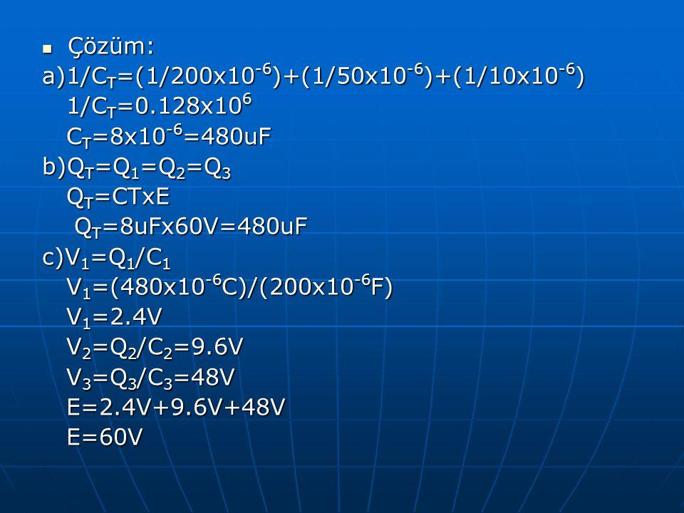 Çözüm: a)1/CT=(1/200x10-6)+(1/50x10-6)+(1/10x10-6) 1/CT=0.128x106. CT=8x10-6=480uF. b)QT=Q1=Q2=Q3.