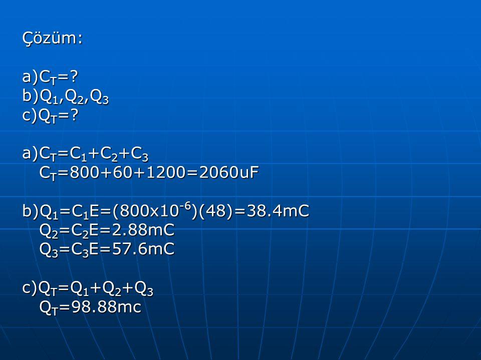 Çözüm: a)CT= b)Q1,Q2,Q3. c)QT= a)CT=C1+C2+C3. CT=800+60+1200=2060uF. b)Q1=C1E=(800x10-6)(48)=38.4mC.