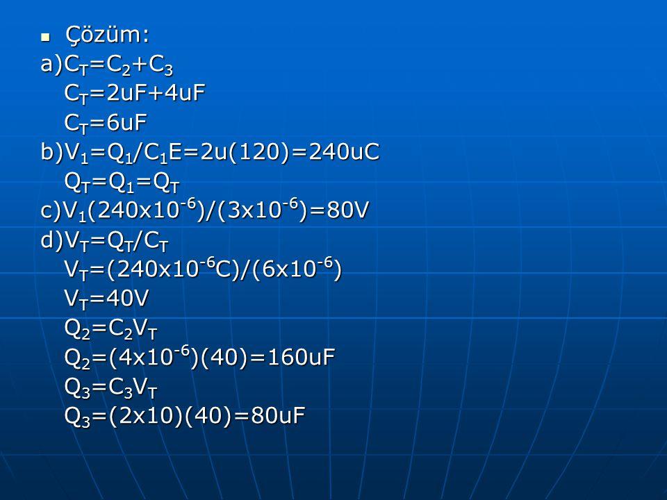 Çözüm: a)CT=C2+C3. CT=2uF+4uF. CT=6uF. b)V1=Q1/C1E=2u(120)=240uC. QT=Q1=QT. c)V1(240x10-6)/(3x10-6)=80V.