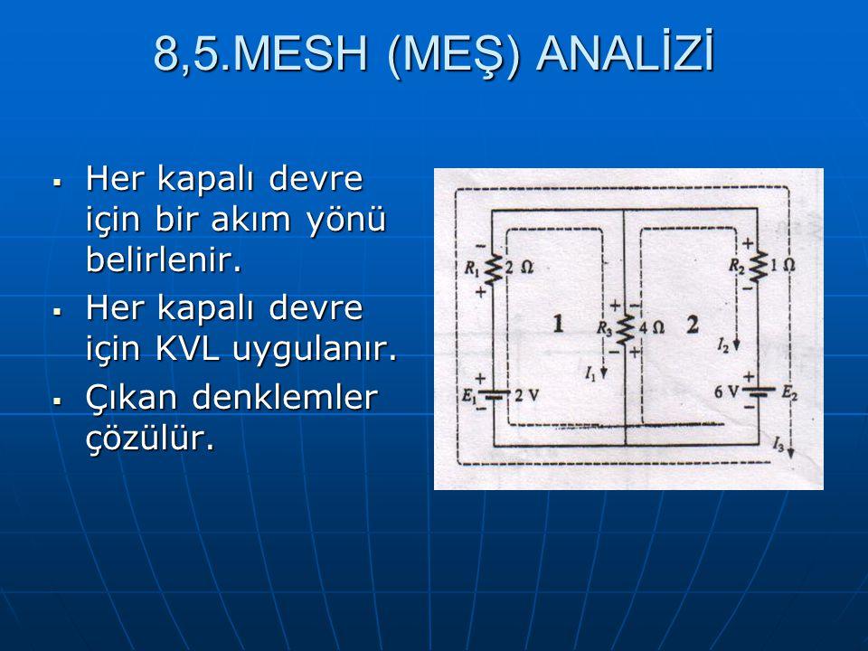 8,5.MESH (MEŞ) ANALİZİ Her kapalı devre için bir akım yönü belirlenir.