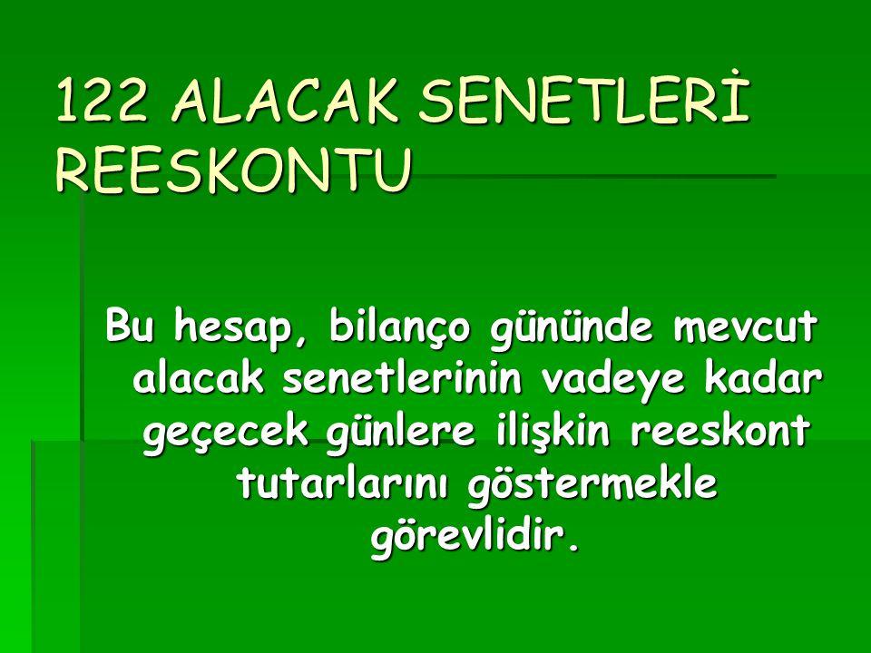 122 ALACAK SENETLERİ REESKONTU