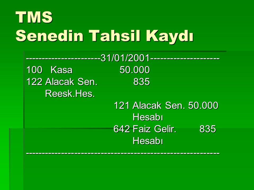 TMS Senedin Tahsil Kaydı