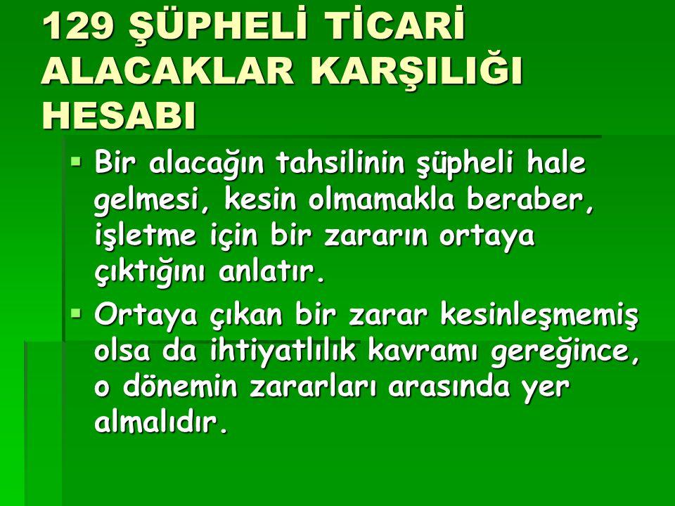 129 ŞÜPHELİ TİCARİ ALACAKLAR KARŞILIĞI HESABI