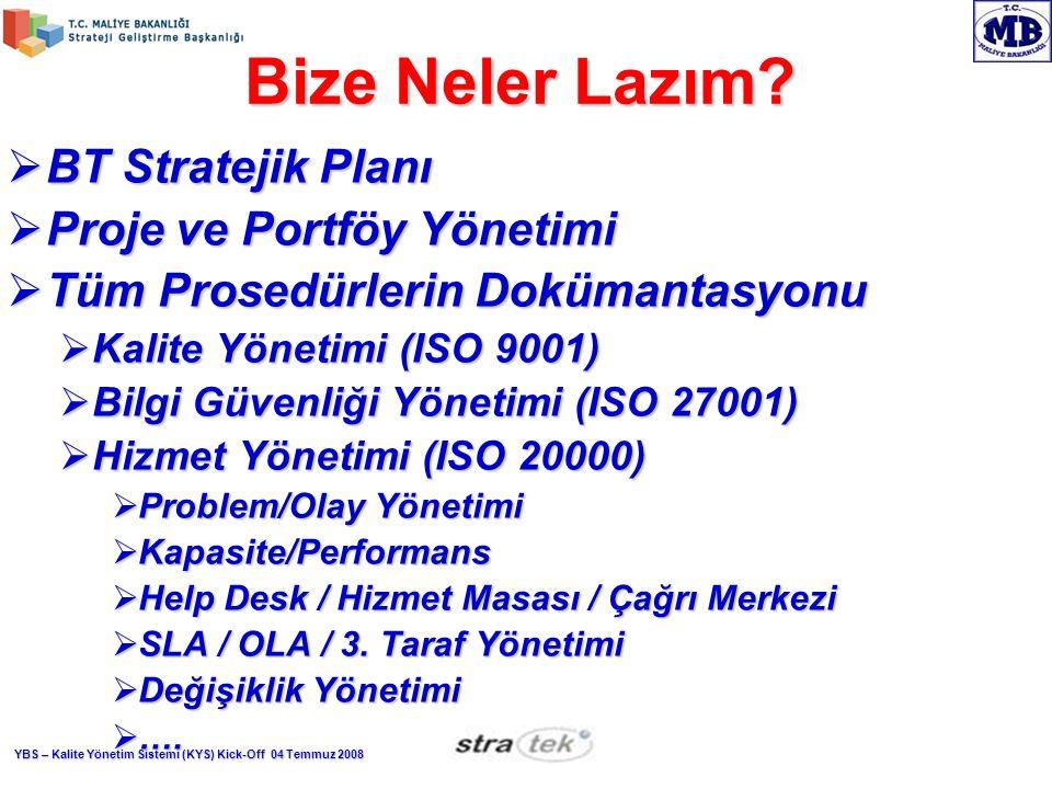 Bize Neler Lazım BT Stratejik Planı Proje ve Portföy Yönetimi