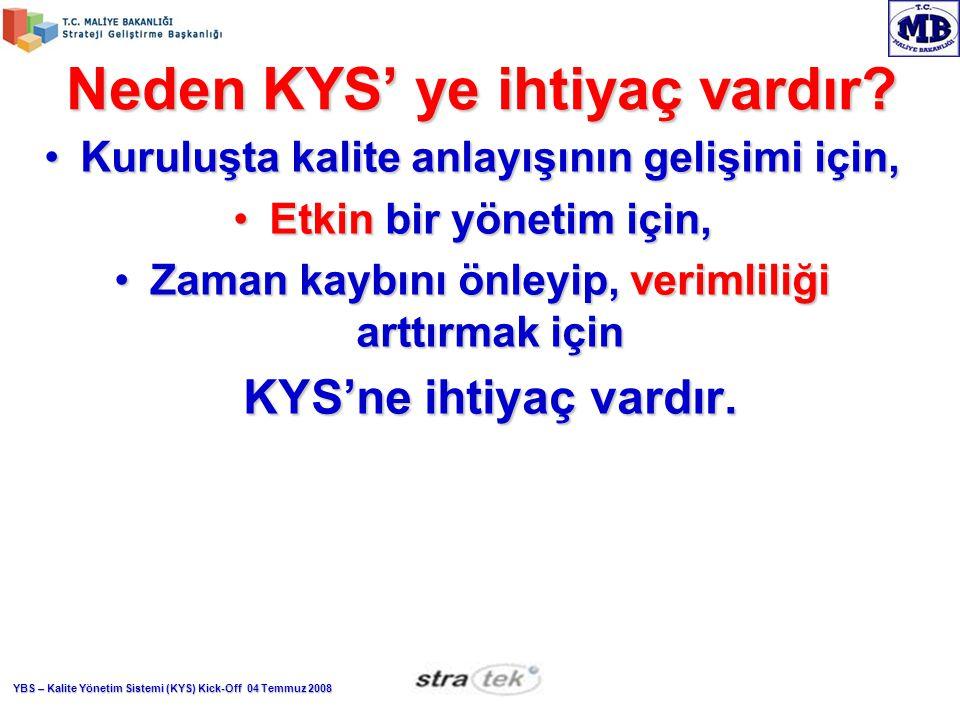 Neden KYS' ye ihtiyaç vardır