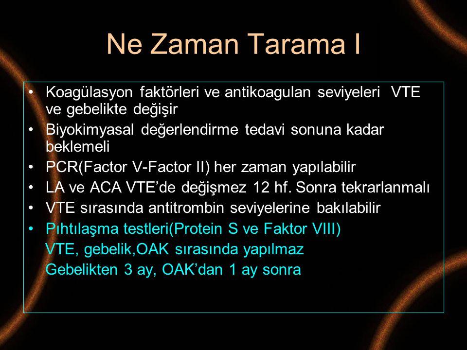 Ne Zaman Tarama I Koagülasyon faktörleri ve antikoagulan seviyeleri VTE ve gebelikte değişir.