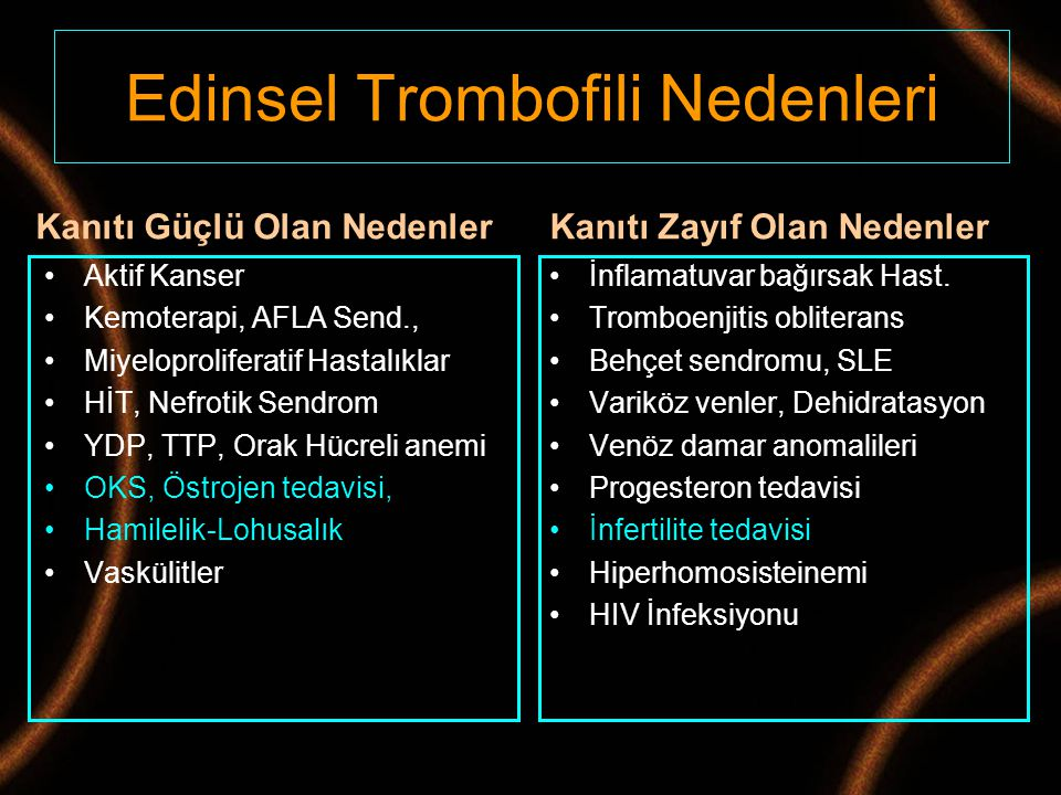 Edinsel Trombofili Nedenleri