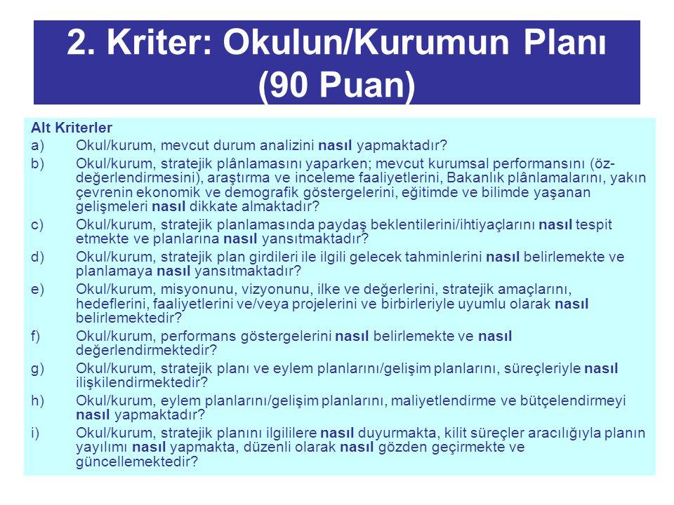 2. Kriter: Okulun/Kurumun Planı (90 Puan)