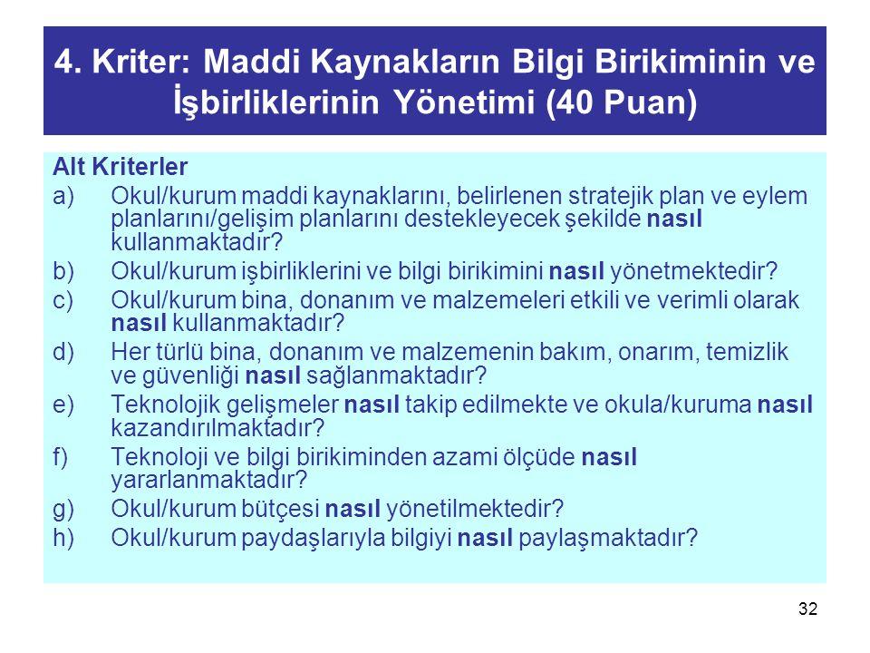 4. Kriter: Maddi Kaynakların Bilgi Birikiminin ve İşbirliklerinin Yönetimi (40 Puan)