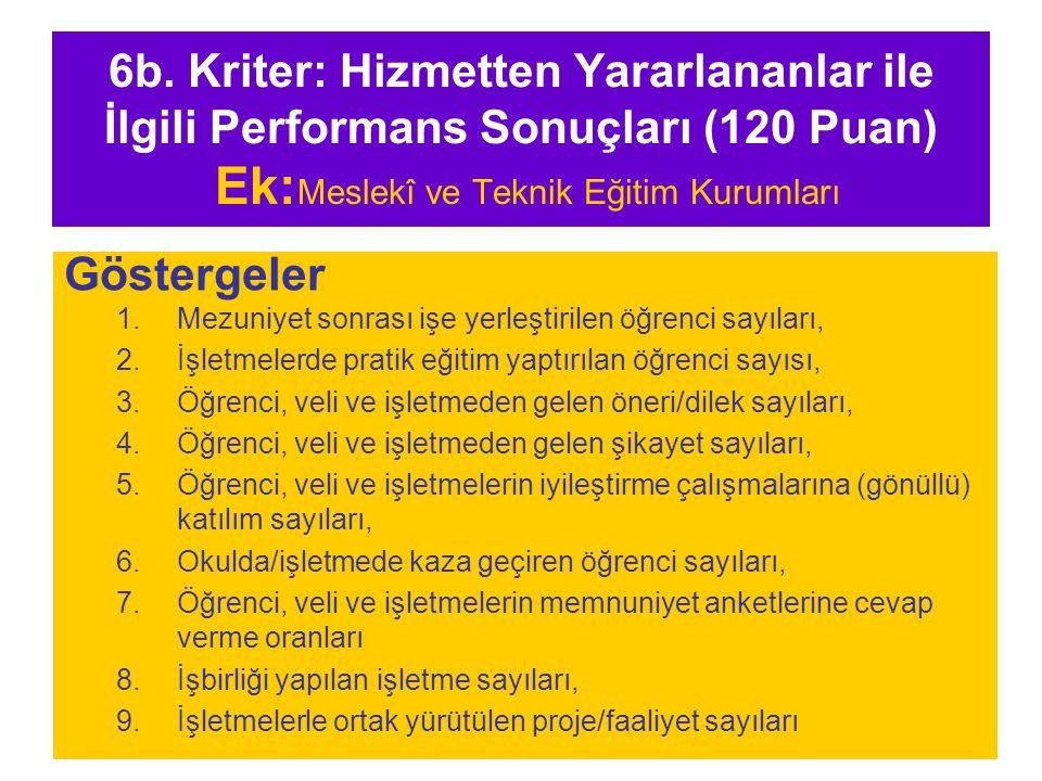 6b. Kriter: Hizmetten Yararlananlar ile İlgili Performans Sonuçları (120 Puan) Ek:Meslekî ve Teknik Eğitim Kurumları