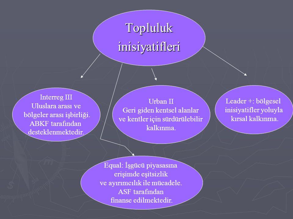 Topluluk inisiyatifleri Interreg III Urban II Leader +: bölgesel