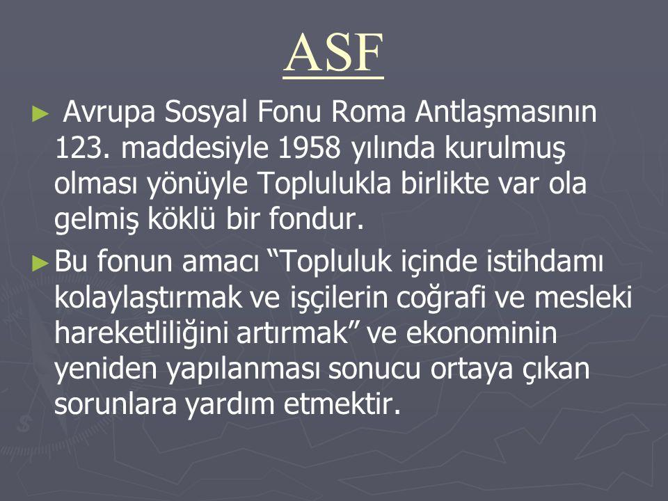 ASF Avrupa Sosyal Fonu Roma Antlaşmasının 123. maddesiyle 1958 yılında kurulmuş olması yönüyle Toplulukla birlikte var ola gelmiş köklü bir fondur.