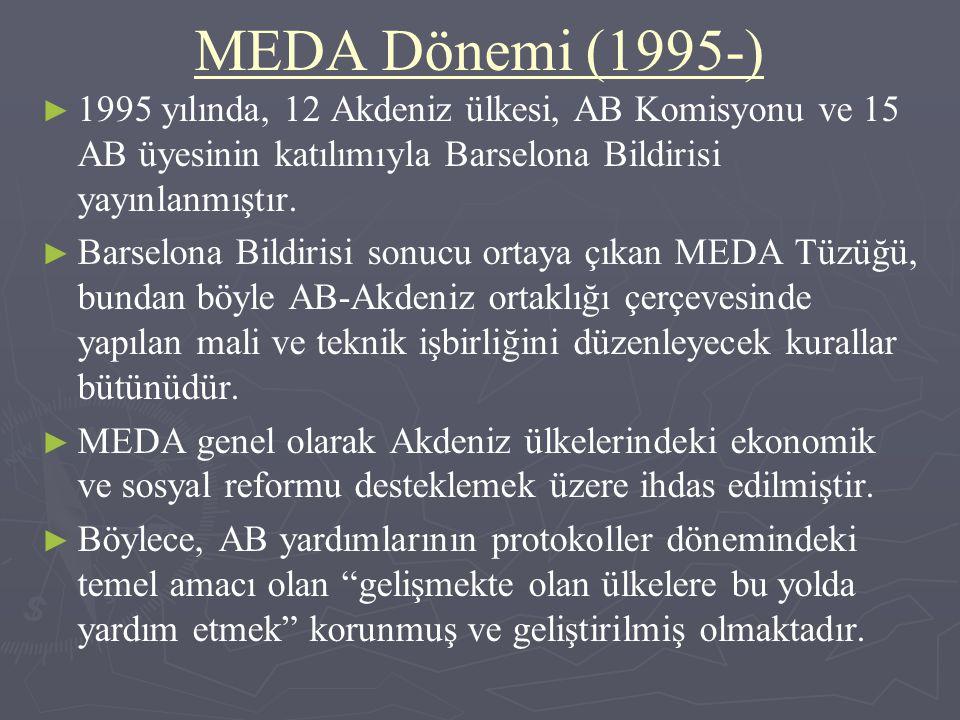MEDA Dönemi (1995-) 1995 yılında, 12 Akdeniz ülkesi, AB Komisyonu ve 15 AB üyesinin katılımıyla Barselona Bildirisi yayınlanmıştır.
