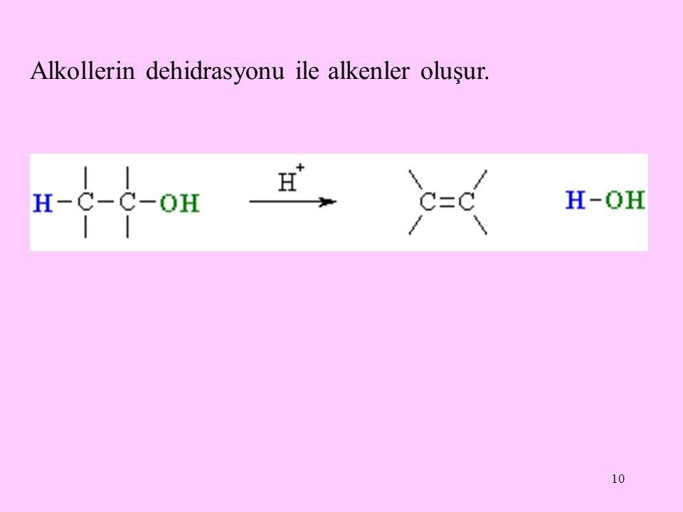 Alkollerin dehidrasyonu ile alkenler oluşur.