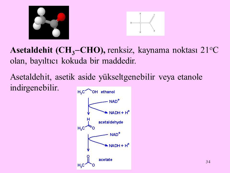 Asetaldehit (CH3CHO), renksiz, kaynama noktası 21oC olan, bayıltıcı kokuda bir maddedir.
