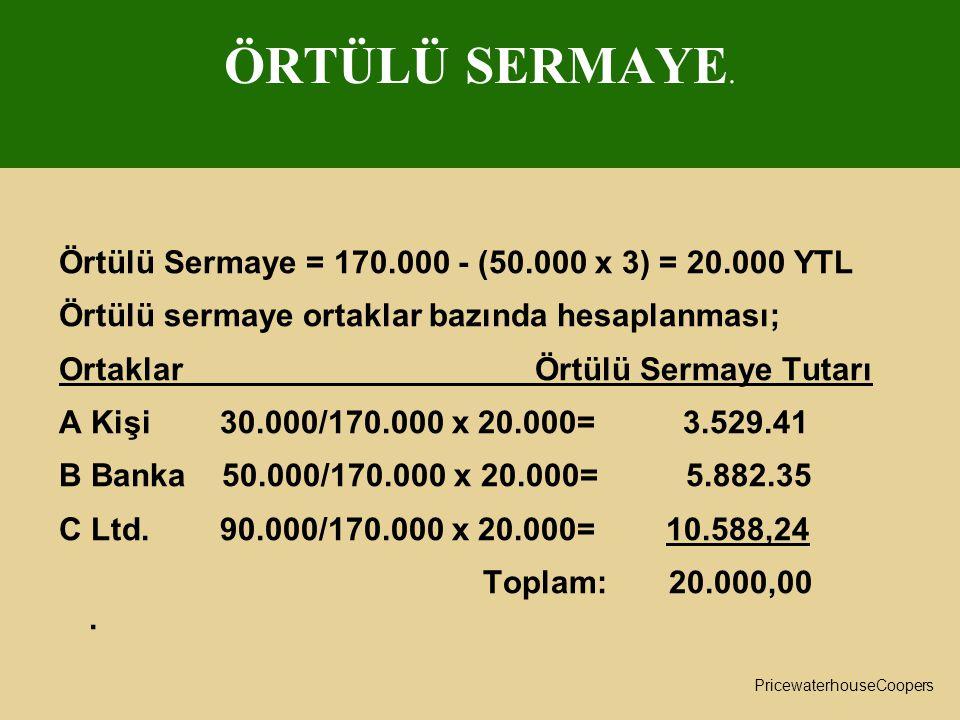 ÖRTÜLÜ SERMAYE. Örtülü Sermaye = 170.000 - (50.000 x 3) = 20.000 YTL