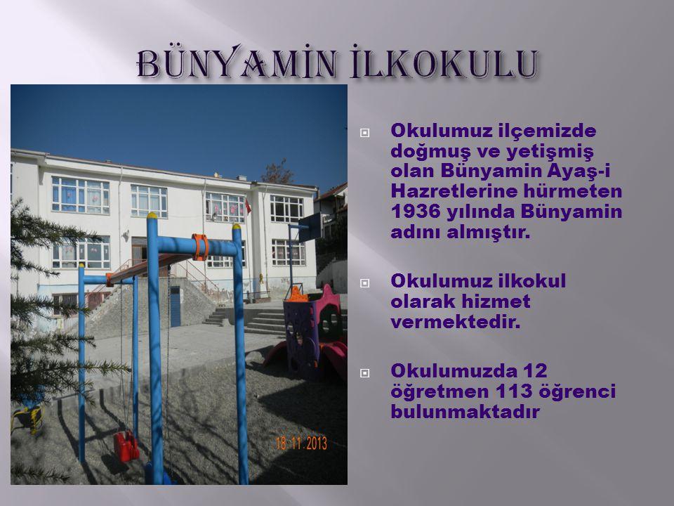 BÜNYAMİN İLKOKULU Okulumuz ilçemizde doğmuş ve yetişmiş olan Bünyamin Ayaş-i Hazretlerine hürmeten 1936 yılında Bünyamin adını almıştır.