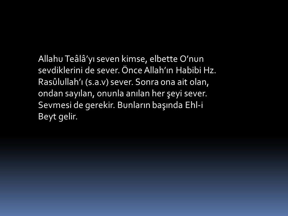 Allahu Teâlâ'yı seven kimse, elbette O'nun sevdiklerini de sever