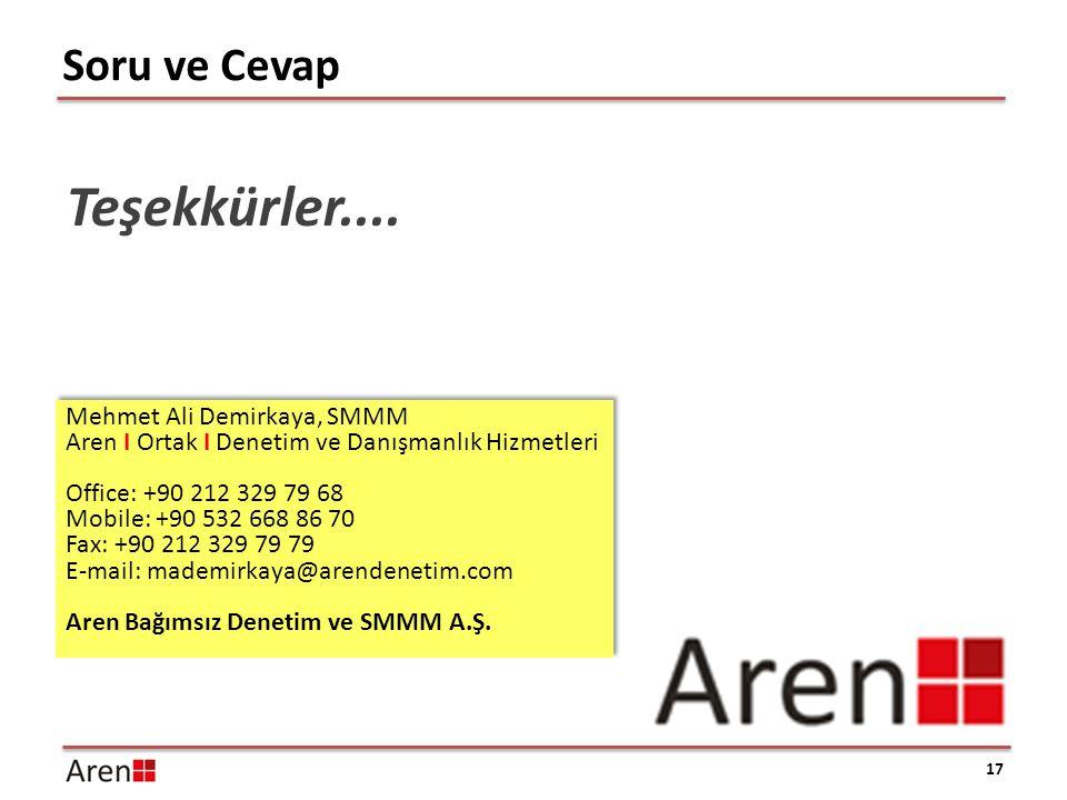 Teşekkürler.... Soru ve Cevap Mehmet Ali Demirkaya, SMMM