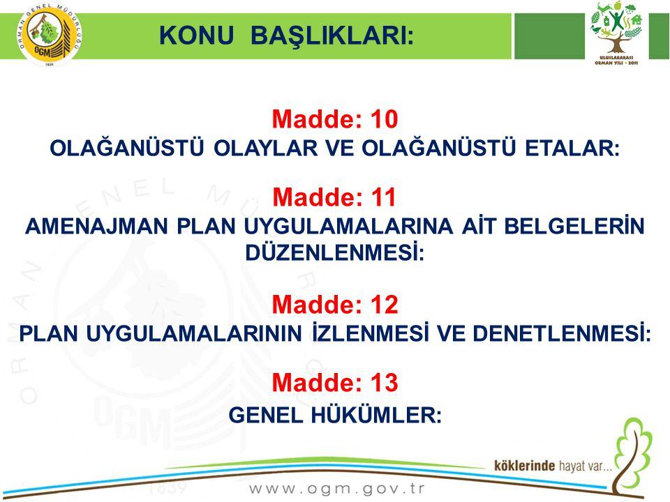 Madde: 10 Madde: 11 Madde: 12 Madde: 13