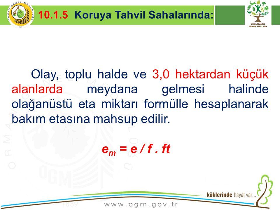 10.1.5 Koruya Tahvil Sahalarında: