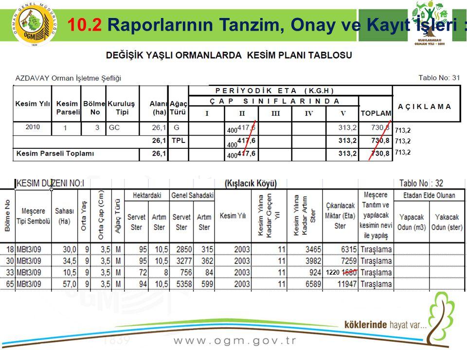 10.2 Raporlarının Tanzim, Onay ve Kayıt İşleri :