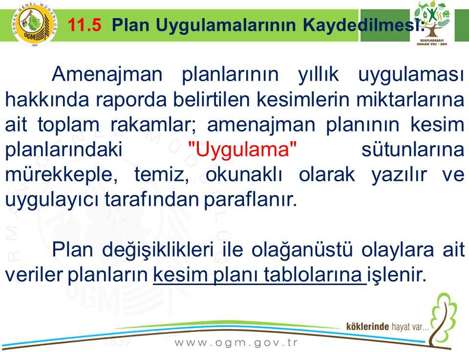 11.5 Plan Uygulamalarının Kaydedilmesi: