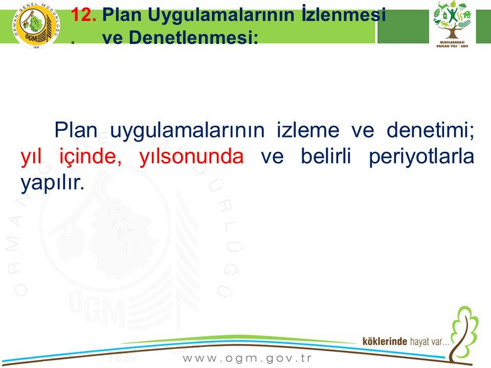 12. Plan Uygulamalarının İzlenmesi . ve Denetlenmesi: