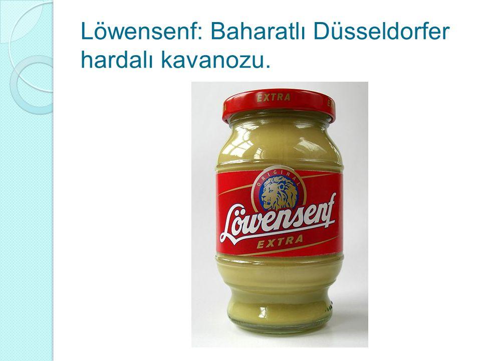 Löwensenf: Baharatlı Düsseldorfer hardalı kavanozu.