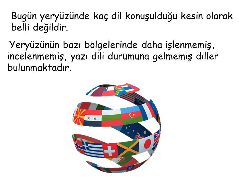 Bugün yeryüzünde kaç dil konuşulduğu kesin olarak belli değildir.
