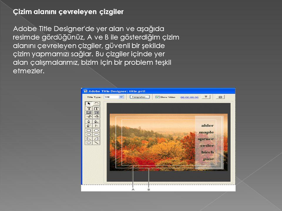 Çizim alanını çevreleyen çizgiler Adobe Title Designer de yer alan ve aşağıda resimde gördüğünüz, A ve B ile gösterdiğim çizim alanını çevreleyen çizgiler, güvenli bir şekilde çizim yapmamızı sağlar.