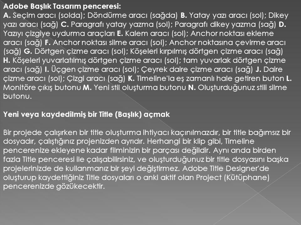 Adobe Başlık Tasarım penceresi: A