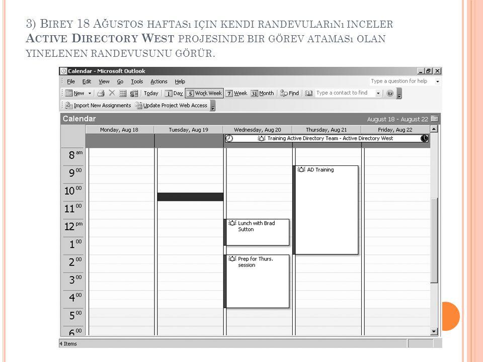 3) Birey 18 Ağustos haftası için kendi randevularını inceler Active Directory West projesinde bir görev ataması olan yinelenen randevusunu görür.