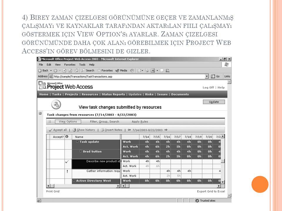 4) Birey zaman çizelgesi görünümüne geçer ve zamanlanmış çalışmayı ve kaynaklar tarafından aktarılan fiili çalışmayı göstermek için View Option sı ayarlar.