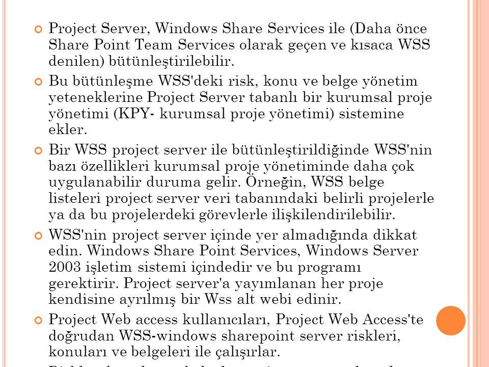 Project Server, Windows Share Services ile (Daha önce Share Point Team Services olarak geçen ve kısaca WSS denilen) bütünleştirilebilir.