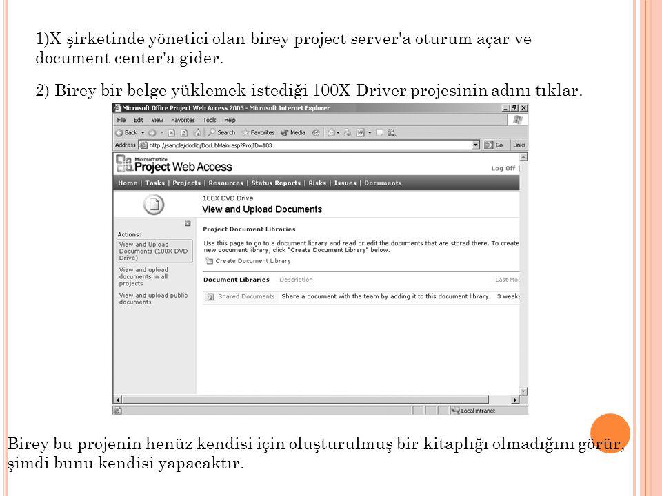 1)X şirketinde yönetici olan birey project server a oturum açar ve document center a gider.