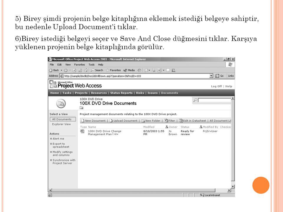 5) Birey şimdi projenin belge kitaplığına eklemek istediği belgeye sahiptir, bu nedenle Upload Document i tıklar.