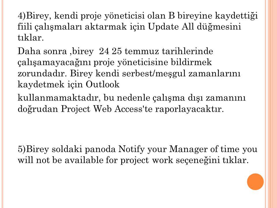 4)Birey, kendi proje yöneticisi olan B bireyine kaydettiği fiili çalışmaları aktarmak için Update All düğmesini tıklar.