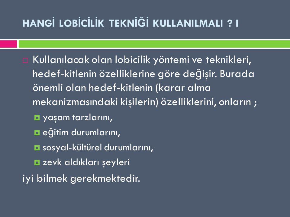 HANGİ LOBİCİLİK TEKNİĞİ KULLANILMALI I
