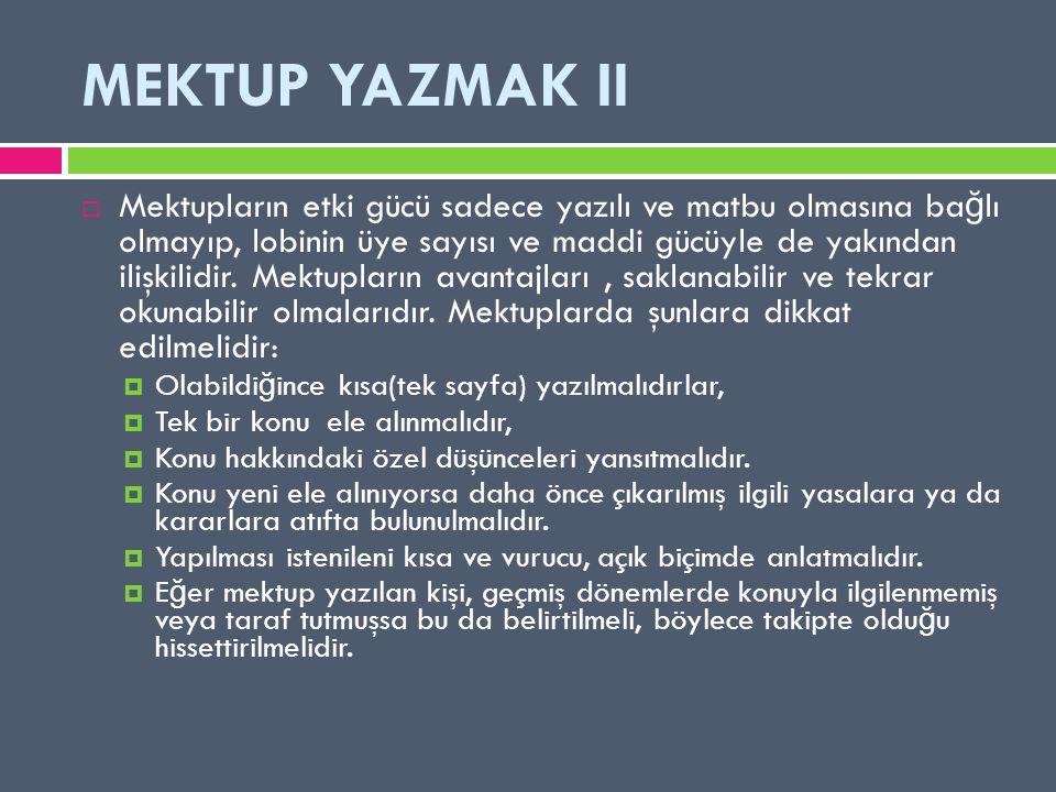 MEKTUP YAZMAK II