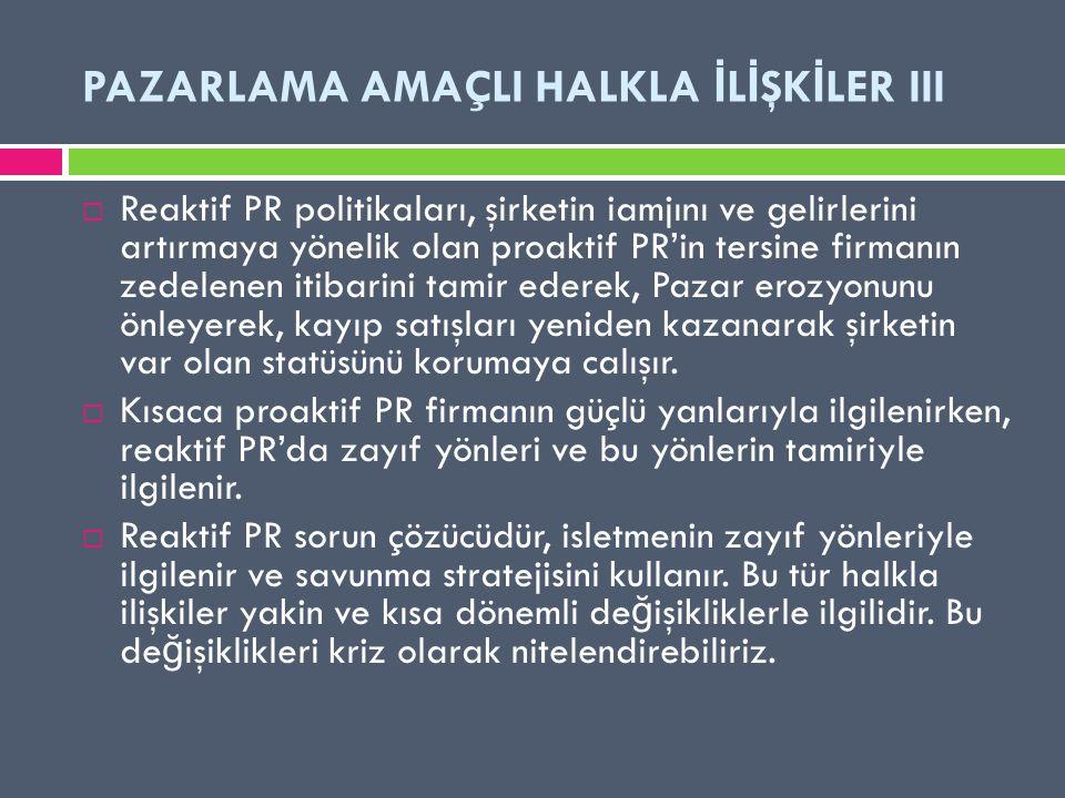 PAZARLAMA AMAÇLI HALKLA İLİŞKİLER III