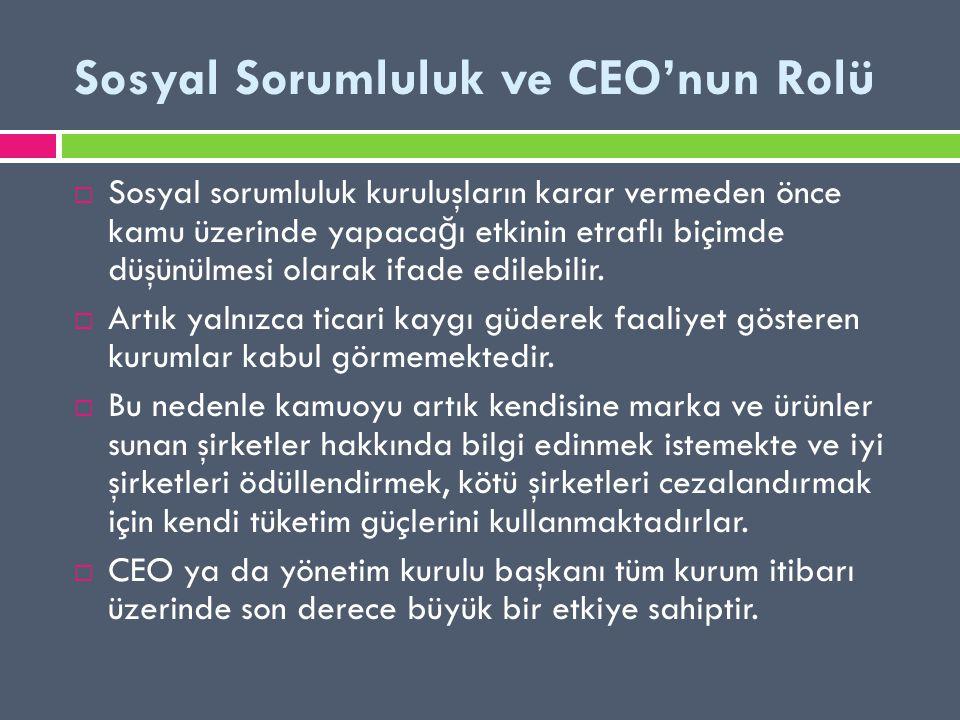 Sosyal Sorumluluk ve CEO'nun Rolü
