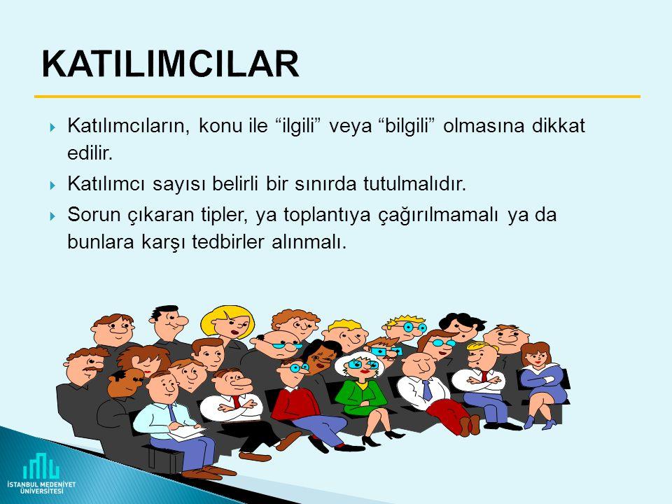 KATILIMCILAR Katılımcıların, konu ile ilgili veya bilgili olmasına dikkat edilir. Katılımcı sayısı belirli bir sınırda tutulmalıdır.
