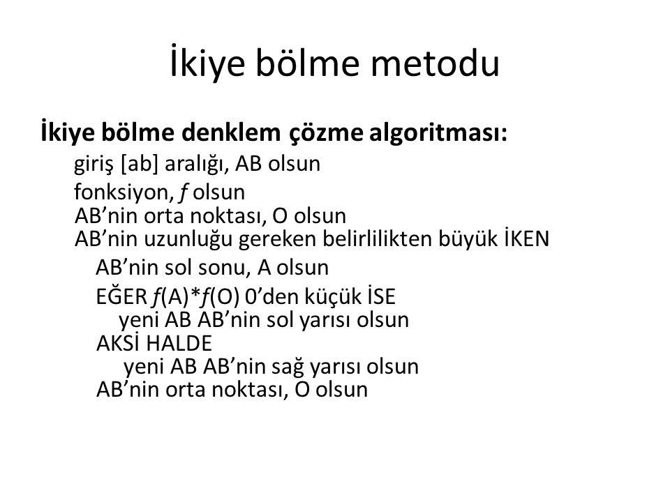 İkiye bölme metodu İkiye bölme denklem çözme algoritması: