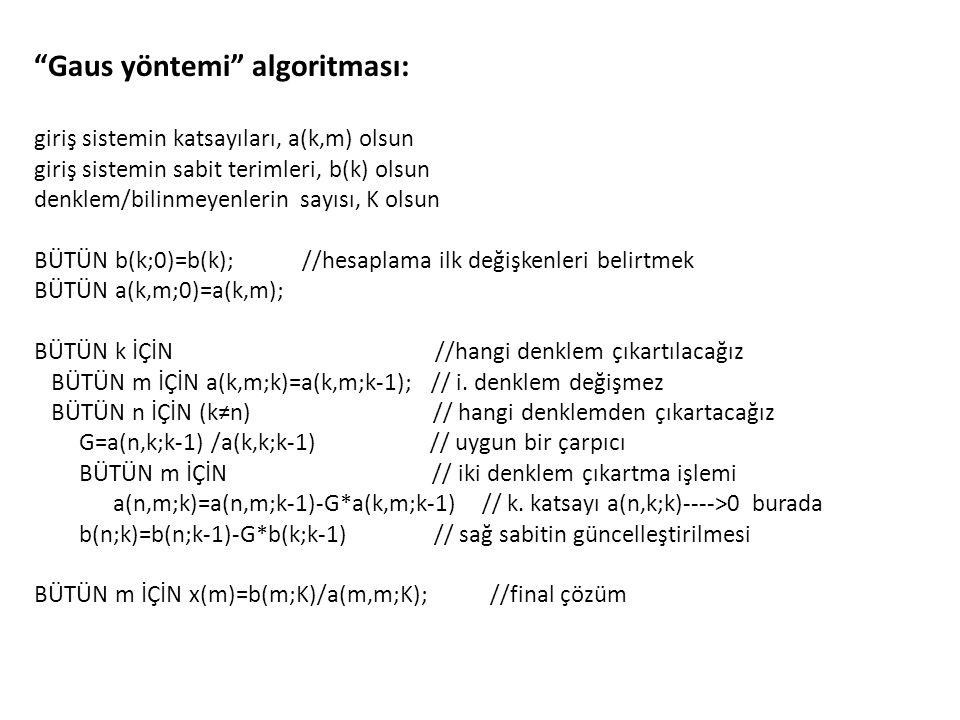Gaus yöntemi algoritması: