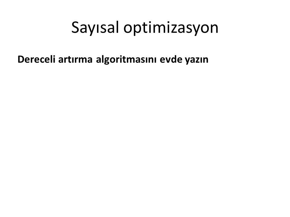 Sayısal optimizasyon Dereceli artırma algoritmasını evde yazın