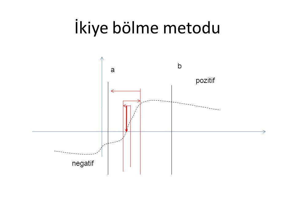 İkiye bölme metodu b a pozitif negatif