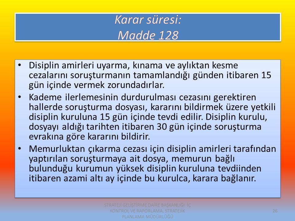 Karar süresi: Madde 128.